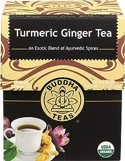 Organic Turmeric Ginger Tea, 18 Bleach Free Tea Bags – Caffeine Free, Antioxidant, Antiviral, and Anti-Inflammatory, Immune Boosting Tea. Supports Digestion, No GMOs