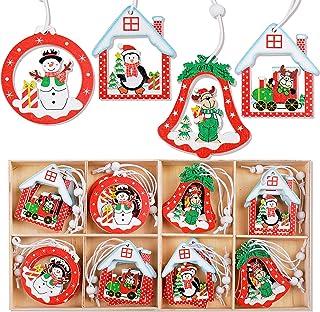 24pcs Colgante Madera de Navidad Adorno Decoración de Árbol de Navidad Colgante Decorativo Colores Renos Muñeco de Nieve C...