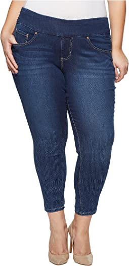 Plus Size Nora Skinny Ankle Pull-On Jeans w/ Laser Print in Dot Stripe