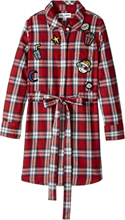 Red Plaid Dress with Patch Work (Little Kids/Big Kids)