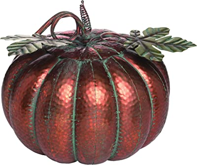 Transpac Metal Large Harvest Patina Pumpkin, Red