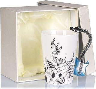 VENKONTazas de café de cerámica con una asa en forma de instrumento de música, incluye caja de regalo, para café, té, chocolate, leche, agua, etc., 0,2 L