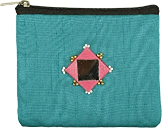 Equip India Women's Mirror Embroidered Sea Blue Coin Purse