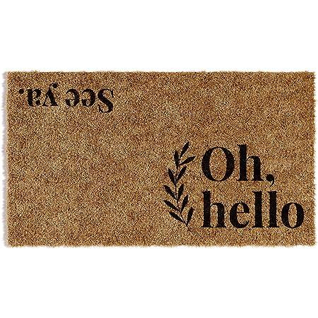 "Barnyard Designs 'Oh Hello, See Ya' Doormat, Indoor/Outdoor Non-Slip Rug, Front Door Welcome Mat for Outside Porch Entrance, Home Entryway Farmhouse Decor, 30"" x 17"""