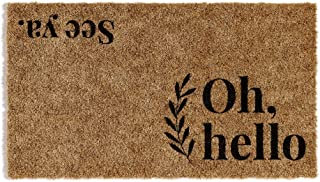 Barnyard Designs 'Oh Hello, See Ya' Doormat, Indoor/Outdoor Non-Slip Rug, Front Door Welcome Mat for Outside Porch Entranc...