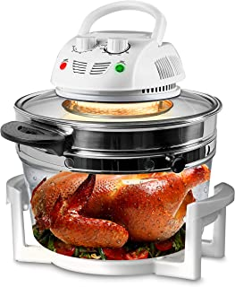 Nutrichef PKAIRFR48.5 Air Fryer, Infrared Convection, Halogen Oven Countertop, Cooking, Stainless Steel, 13 Quart 1200W, P...