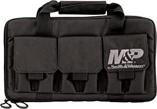 Smith & Wesson M&P Pro Tac Padded Double Handgun Case with Ballistic Fabric Construction and External Pockets for Shooting, Range, Storage and Transport