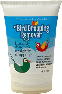 Bird Dropping Remover 4oz. an Essential for Removing Bird Droppings and Stains. The Best Bird Poop Cleaner for Baths, Perches, Cages, Carpet, Patio Furniture, Vehicles, Statues, and More!