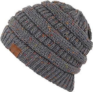 Hatsandscarf CC Exclusives Unisex Ribbed Confetti Knit Beanie (HAT-33) (Dk. Mel Grey)