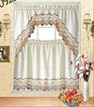 Fancy Collection 3pc Beige with Embroidery Floral Kitchen/Cafe Curtain Tier and Valance Set 001092 (60