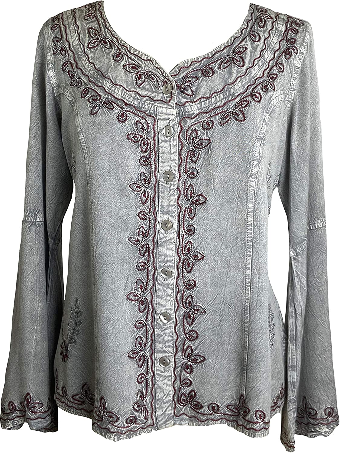 Agan Traders Women's Gypsy Medieval Embroidered Gothic Peasant Top Bell Sleeve Blouse Top
