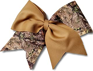 Cheer Bows Khaki Realistic Camo Camouflage Military Support Hair Bow
