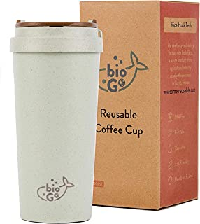 bioGo Cup, Rice Husk Fibre, BPA-Free, Double Wall Insulation Reusable Coffee Cups, On-The-Go Travel Mug, Screw Tight Lid, ...