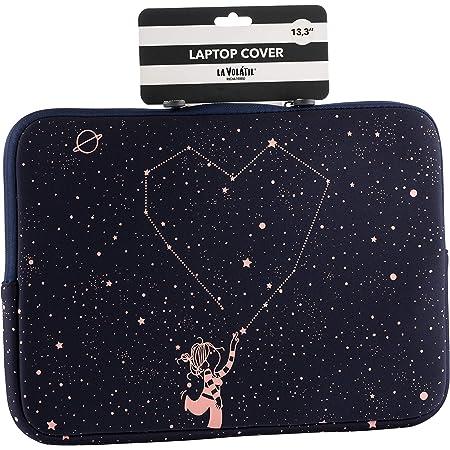 """La Volátil Funda de portátil de hasta 14"""" con diseño de estrellas rosas sobre fonzo azul oscuro, Acolchada y Reforzada con Cremallera"""