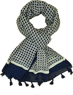 Foulard Femme 6 Couleurs (Noir Rouge Bleu, Jaune Gris Vert) Echarpe 50% Viscose 50% Coton, Chale Fantaisie avec pompons Et...