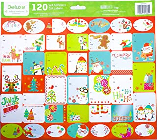 Pack of 120 Self Adhesive Christmas Gift Tags Labels 3 Sheets with 40 Different Designs Xmas Gift Labels Best for Gifts Presents, Wrapping Paper and Gift Bags (Blue/Green)