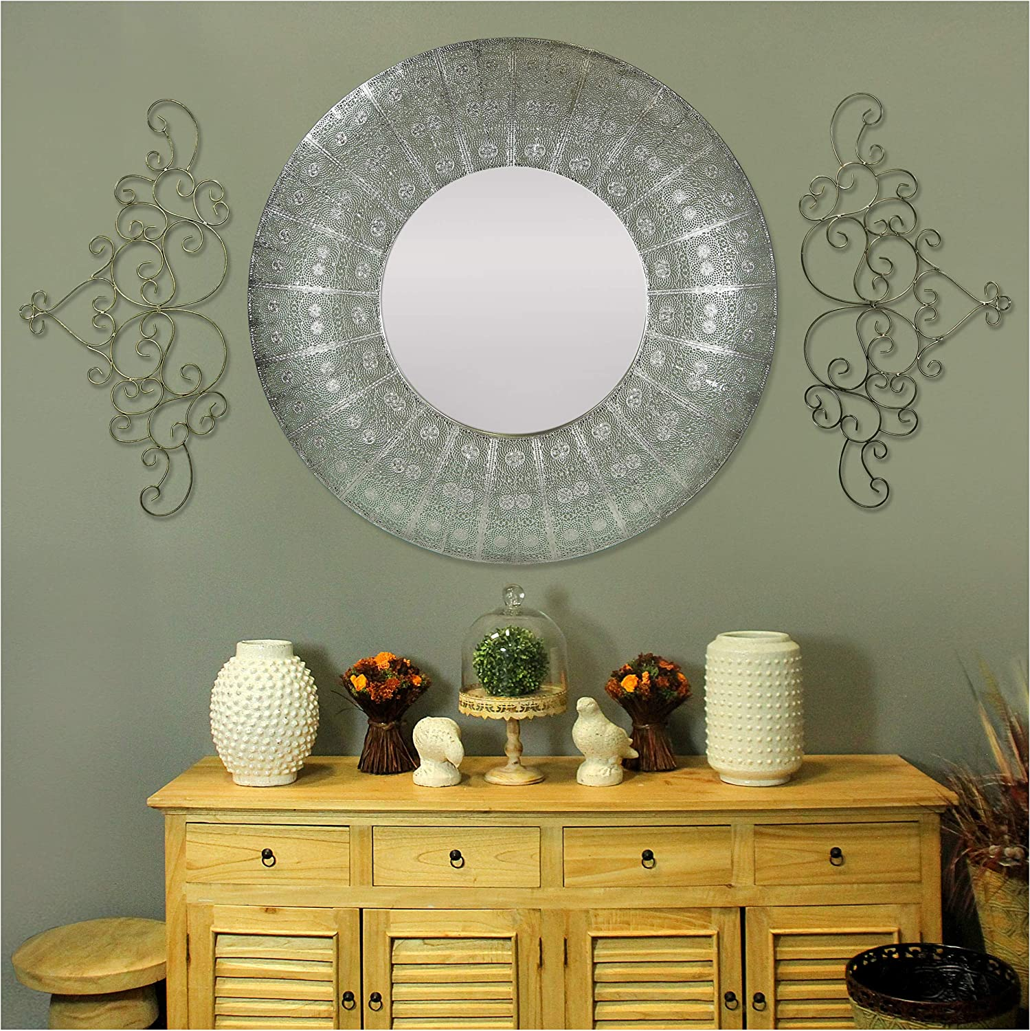 Silver Round Wall Mirror - 36 Inch Large Round Mirror, Rustic Accent Mirror for Bathroom, Entry, Dining Room, Living Room. Metal Black Round Mirror for Wall, Vanity Mirror Large Circle Wall Mirror