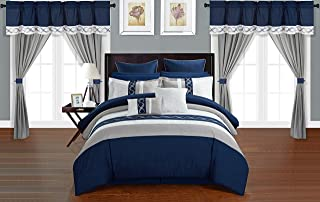 Chic Home Idit 24 Piece Comforter Set Color Block Embroidered Design Complete Bed in a Bag Bedding – Sheets Bed Skirt Decorative Pillows Shams Window Treatments Curtains Included Queen Navy