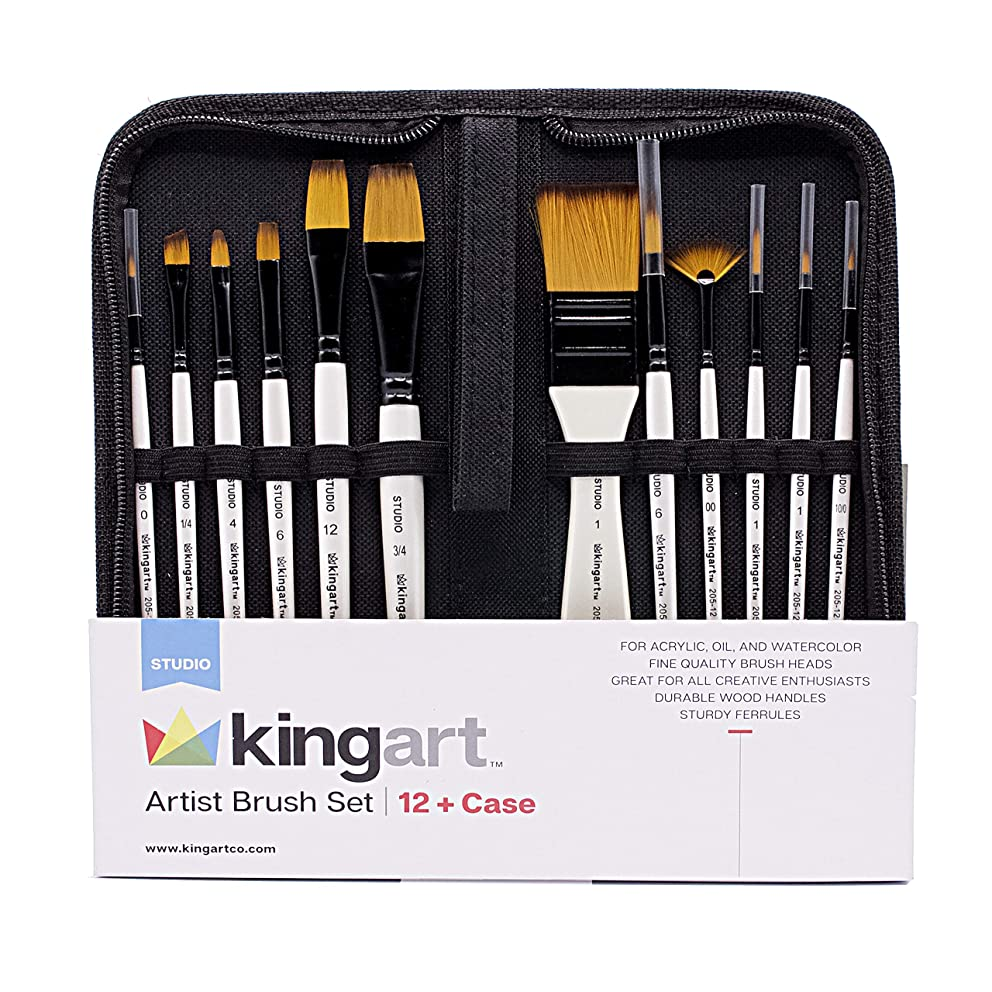 KINGART 205-12 Artist Case, Set of 12 Paint Brush Set, White/Black 12 Piece