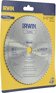 Irwin 11820ZR 6-1/2-Inch 140 Tooth TFG Plastic, Plywood, and Veneer Cutting Saw Blade with 5/8-Inch Arbor