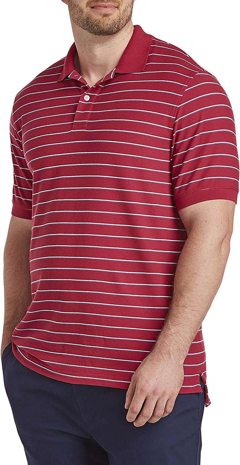 Harbor Bay by DXL Big and Tall Multi Small Bi-Color Polo Shirt, Red Multi