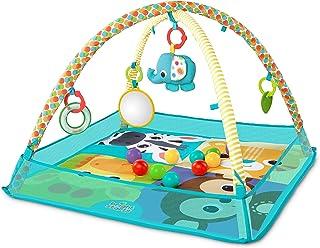 Bright Starts, More-in-One Ball Pit Fun, lekmatta med lekbåge och bollbad med justerbara sidoväggar, avtagbara leksaker oc...