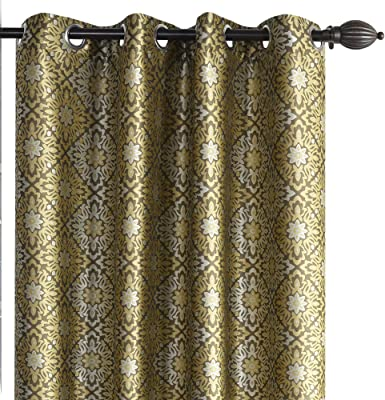 Deco Window Eyelet Dark Brown Floral Design Windows Curtain for Living Room Set of 2-5 Feet, Brown