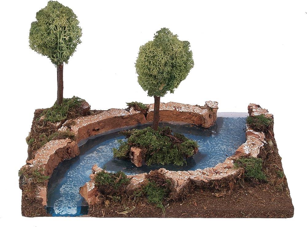 Ferrari & arrighetti fiume con piccola isola ,paesaggio del presepe 537