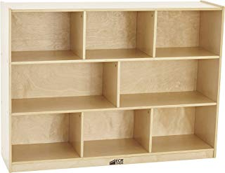 """ECR4Kids Birch 8-Section School Classroom Storage Cabinet with Casters, Commercial or Personal Storage, Kids' Storage Organizer Shelf, Friendly Design, Certified and Safe, 36"""" High, Natural"""
