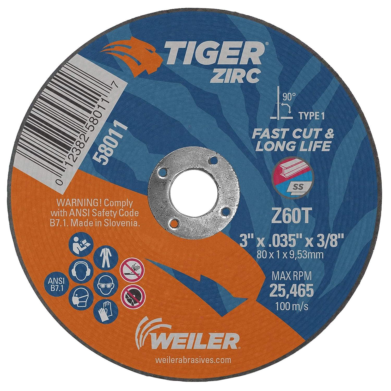 Weiler 58012 3 x .035 Tiger Zirc Type 1 Cutting Wheel 1//4 A.H. Pack of 100 Z60T