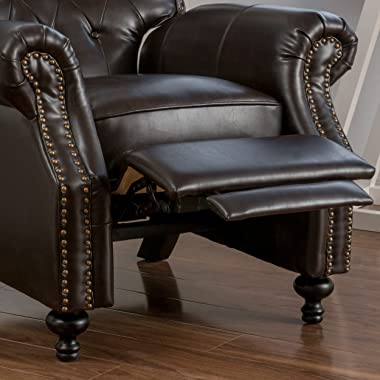 Great Deal Furniture Waldo Brown Leather Recliner Club Chair