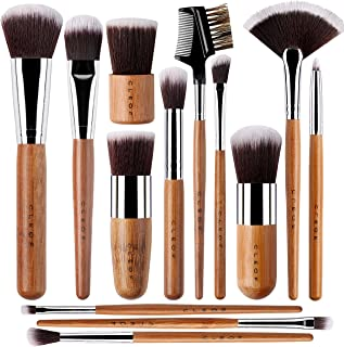 Professional Eyeshadow Brush Set – for Eye shadow, Eyebrow, Eyeliner, Blending – 13 Pcs - with Premium Wooden Handles & Travel Make up Bag - Vegan & Cruelty Free, Designed in The USA.