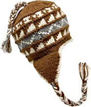 Nepal Hand Knit Sherpa Hat with Ear Flaps, Trapper Ski Heavy Wool Fleeced Lined Cap (Brown & Grey)