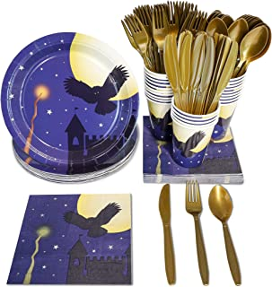 Wizard Halloween Party Supplies – Serves 24 – Includes Plates, Knives, Spoons, Forks, Cups and Napkins. Perfect Wizard Party Pack for Kids Halloween Wizard Themed Parties.