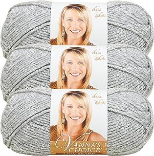 (3 Pack) Lion Brand Yarn 860-405G Vanna's Choice Yarn, Silver Heather