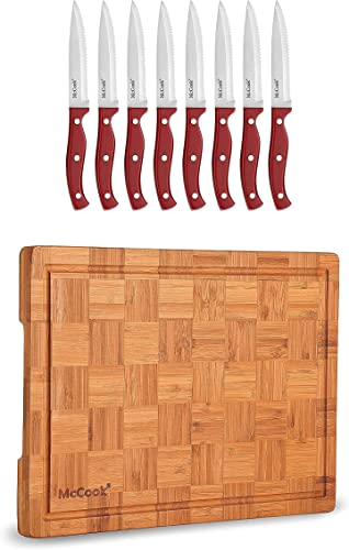 """wholesale McCook popular MC56 Full Tang Serrated Stainless Steel Steak Knives Set of 8, Red + MCW12 Bamboo online Cutting Board (Large, 17""""x12""""x1"""") sale"""