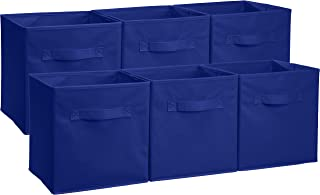 AmazonBasics Foldable Storage Bins Cubes Organizer, 6-Pack, Navy Blue