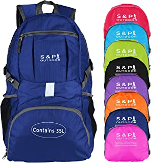 S & P Safe and Perfect Outdoor 35L Sport Water Resistant Lightweight Packable Backpack Durable Folding Travel Hiking Trekking Camping Cycling Foldable Backpack Ultralight Daypack Collapsible Backpack