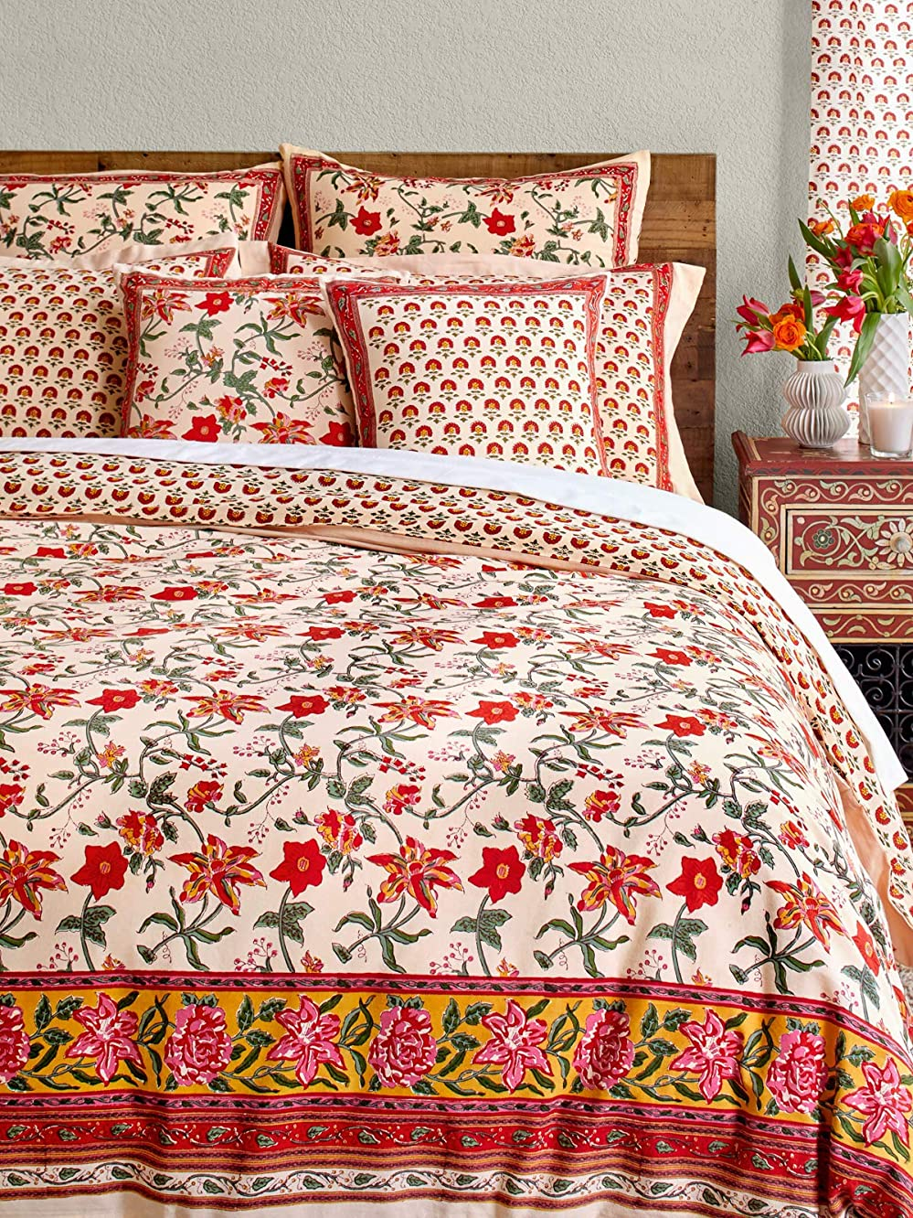 Saffron Marigold Tropical Garden Duvet Cover | Red Hibiscus Exotic Colorful Pink Floral Botanical Coverlet | Vintage Rustic Country Cottage Farmhouse Quilt Comforter Cover Queen