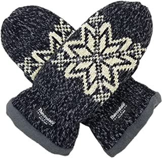 Women Snowflake Knit Mittens with Warm Thinsulate Fleece Lining