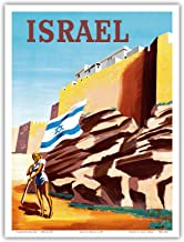 Israel - Zionist Heroic Girl Holding Israeli Flag - Walls of Jerusalem - Vintage Airline Travel Poster by Renluc c.1949 - Master Art Print - 9in x 12in