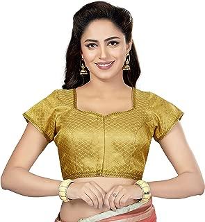 Readymade Designer Gold Brocade Silk Saree Blouse Collection