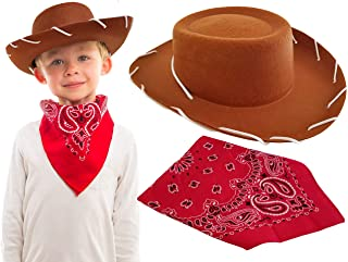Brown Cowboy Hat with Western Bandanna Dress Up Woody Costume for Kids Boys Girls Toddler Toy Story, Best Accessories Halloween, Christmas, Birthday, School and Horse Party Theme