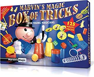 Marvin's Magic '125 Box of Tricks` for Kids, 125 Magic Tricks Set for Girls and Boys, Cups and Balls, Card Tricks, Sponge Magic Rabbits, Color block escape, Mind reading dice trick