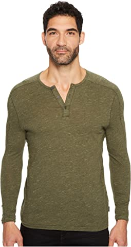John Varvatos Star U.S.A. - Knit Henley with Vertical Pickstitch Sleeve Seam Detail