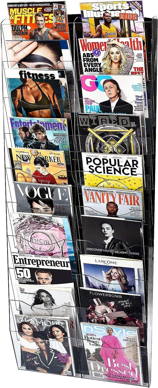 Adir Acrylic Brochure Choice Holder Selling Wall Mount - Mag Adjustable Hanging