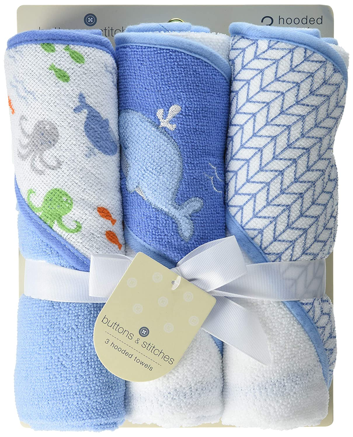 Buttons and Stitches Culdie Buttons & Stitches 3 Pack Rolled Hooded Towels in Ocean Life Print