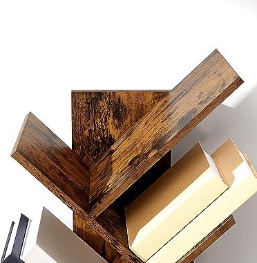 VASAGLE Tree Bookshelf, 8-Tier Floor Standing Bookcase, with Wooden Shelves for Living Room, Home Office, Rustic Brown ULBC11