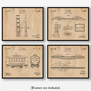 Original San Francisco Golden Gate Bridge & Street Car Patent Poster Prints, Set of 4 (8x10) Unframed Photos, Wall Art Decor Gifts Under 20 for Home, Office, Garage, Man Cave, College Student, Fan
