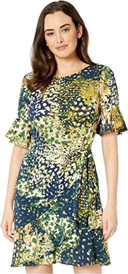 9c00445881e5 Navy/Green. 21. eci. Camouflage Animal Printed Jersey Knit Dress with Side  Wrap